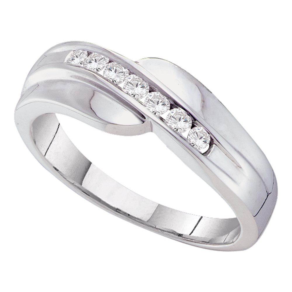 465df724c33 14kt White Gold Mens Round Channel-set Diamond Curved Wedding Band Ring 1 4  Cttw