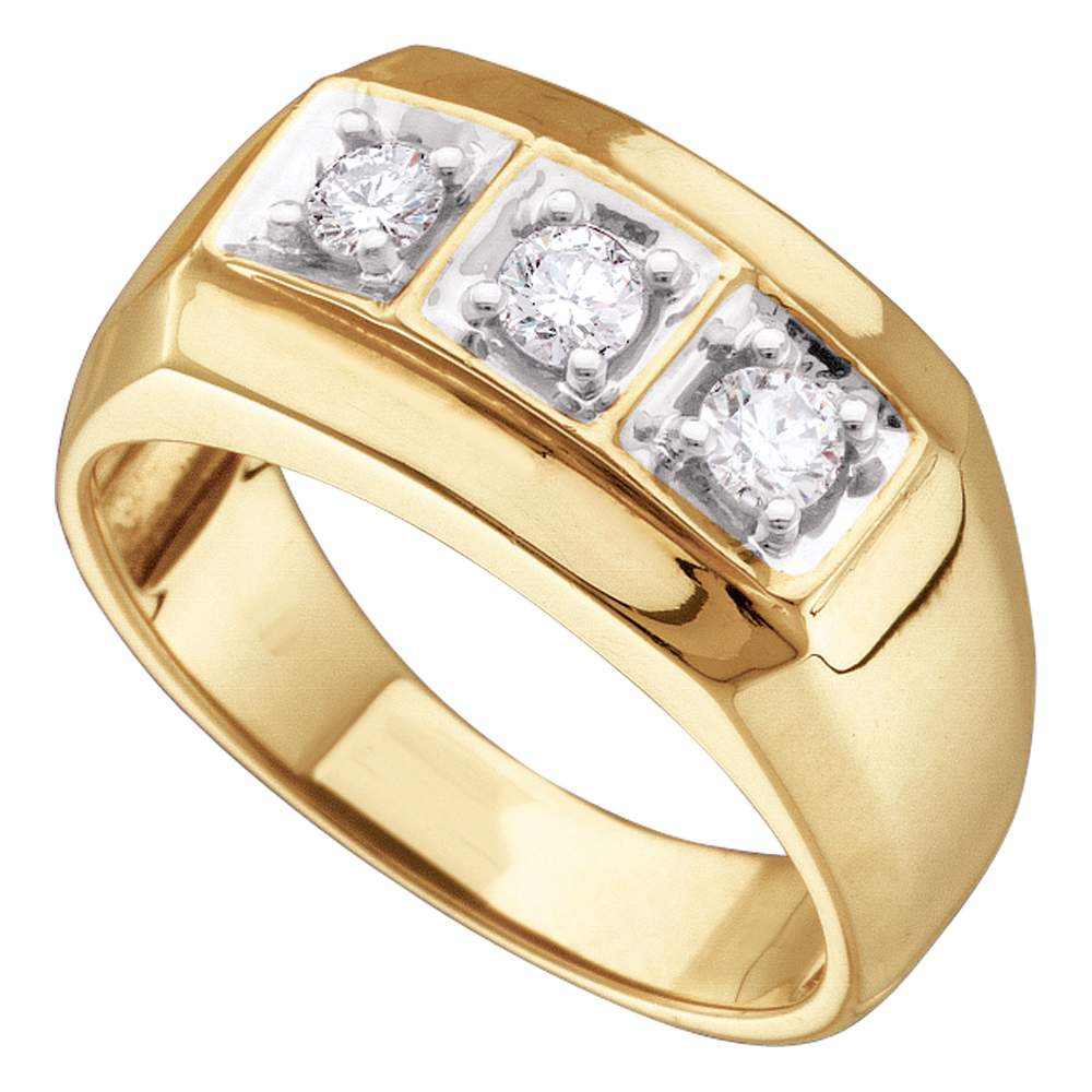 16202a60c6f29 10kt Yellow Gold Mens Round Diamond 3-stone Fashion Band Ring 1/2 Cttw