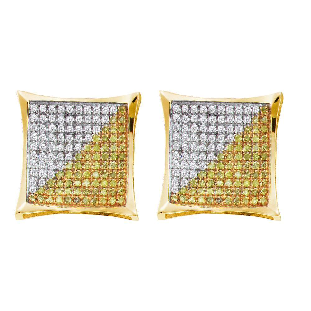 98795dac6 10kt Yellow Gold Mens Round Yellow Color Enhanced Diamond Square Kite Cluster  Screwback Earrings 1/2 Cttw