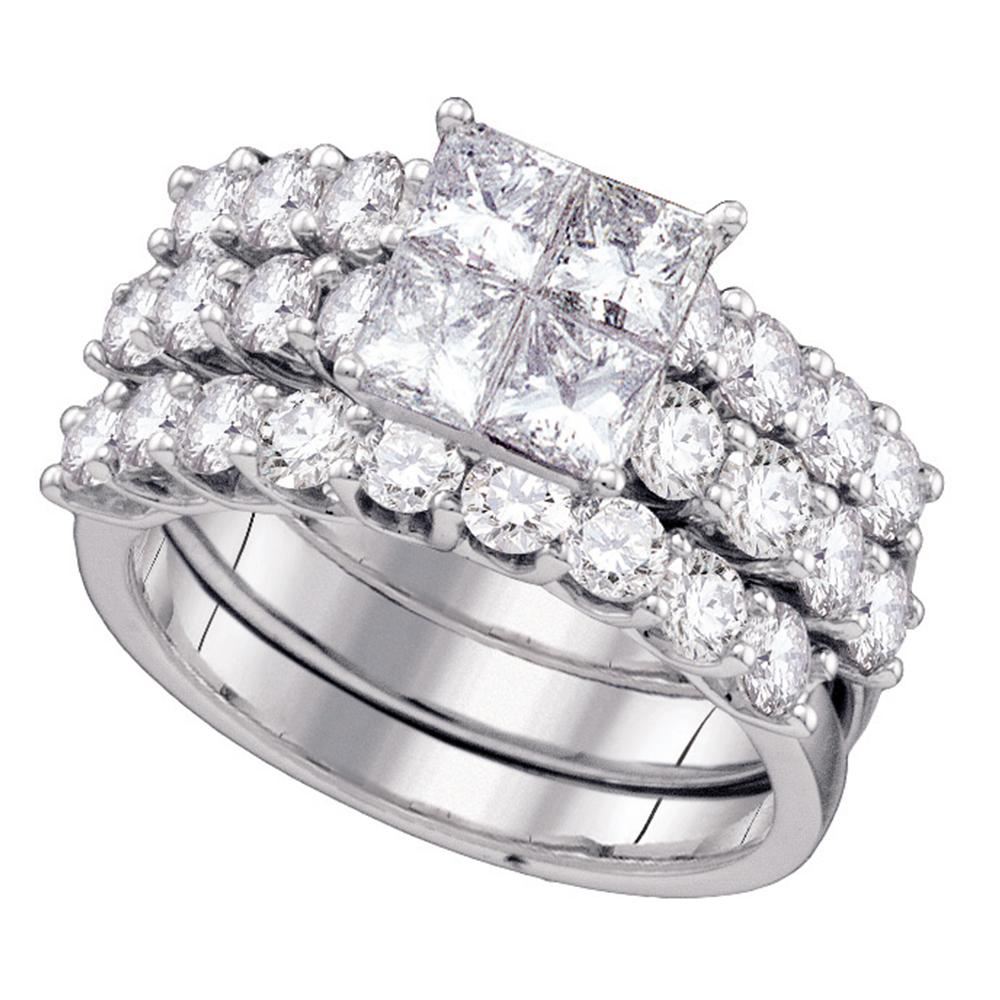 14kt White Gold Womens Princess Diamond 3 Piece Bridal Wedding Engagement  Ring Band Set 4.00 Cttw