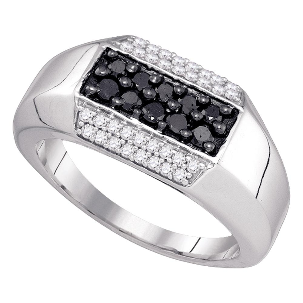 36fe3c15c3840 10kt White Gold Mens Round Black Color Enhanced Diamond Band Ring 3/4 Cttw