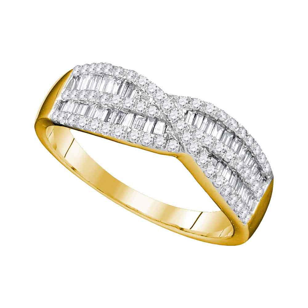 9f5d773cf1a70 10k Yellow Gold Womens Round Baguette Diamond Crossover Band Ring 5/8 Cttw