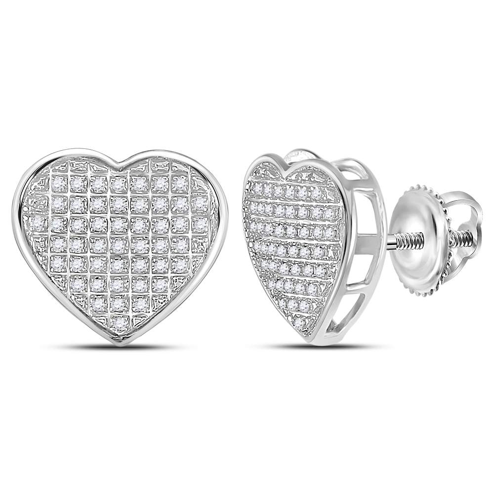 92ba0ef99 10kt White Gold Womens Round Diamond Heart Cluster Stud Earrings 1/6 Cttw