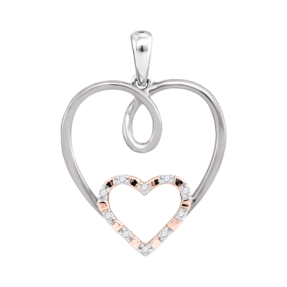 e9cb63ae9ab91e 10kt White Gold Womens Round Diamond Rose-tone Double Nested Heart Pendant  1/20 Cttw
