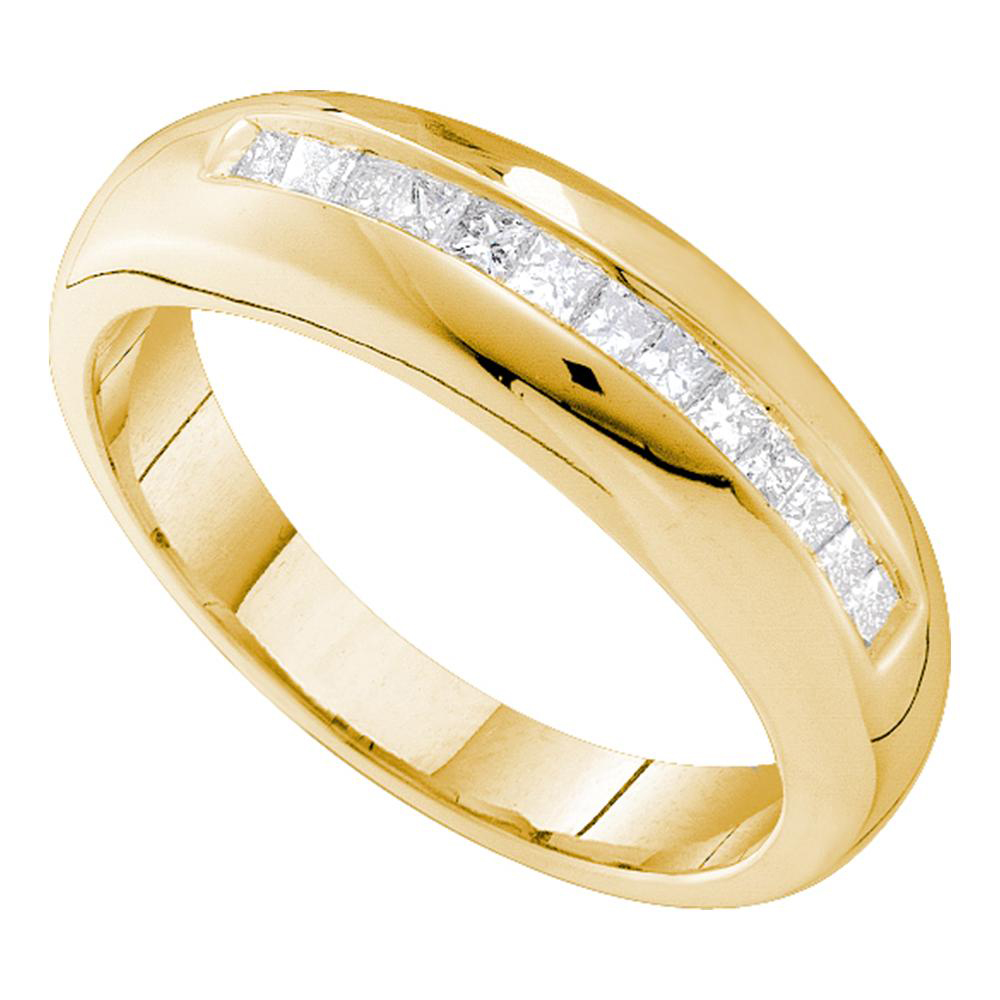 14kt Yellow Gold Mens Princess Channel Set Diamond Wedding Band Ring 1 2 Cttw
