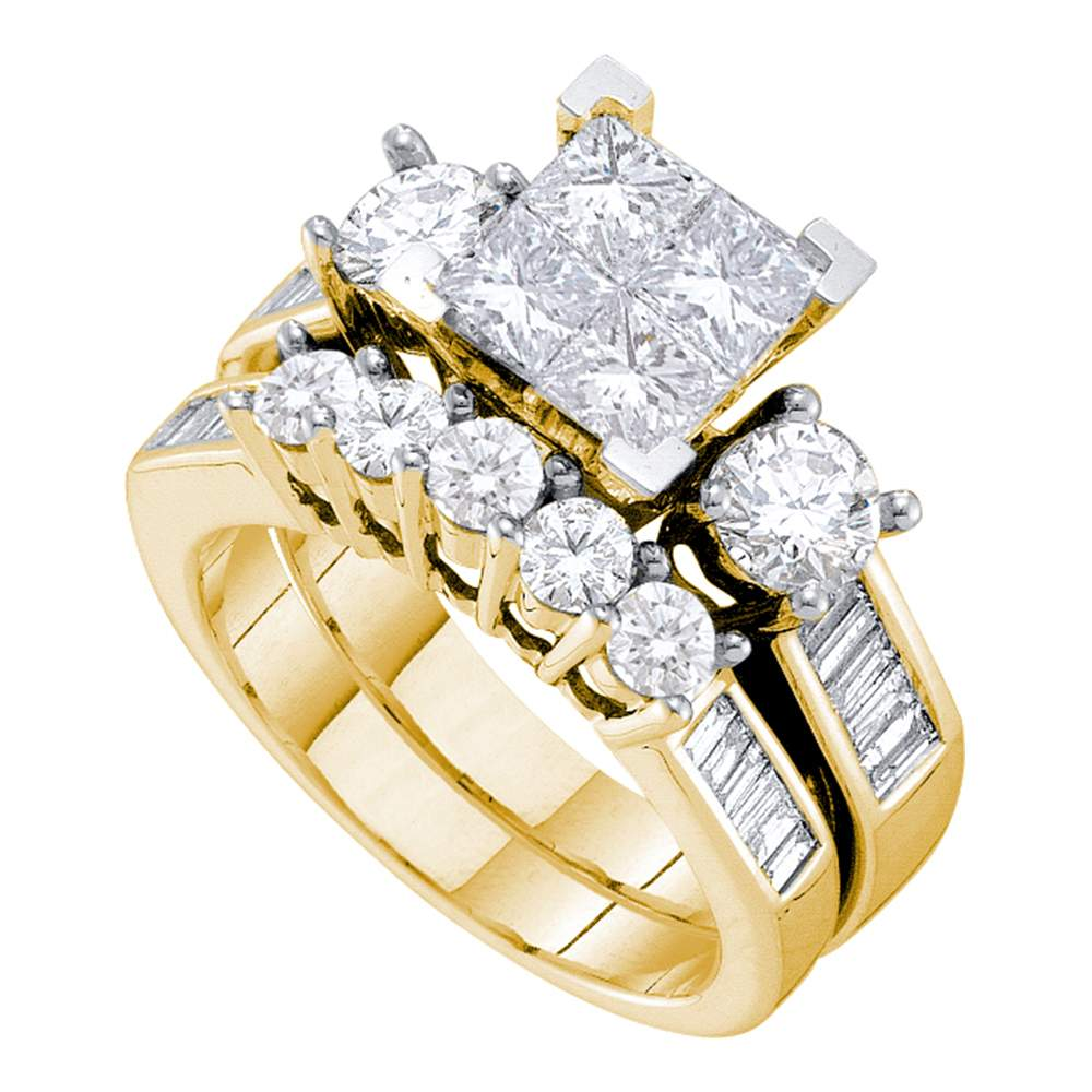 14kt Yellow Gold Womens Princess Diamond Bridal Wedding Engagement Ring Band Set 3 00 Cttw King Jr Jewelry