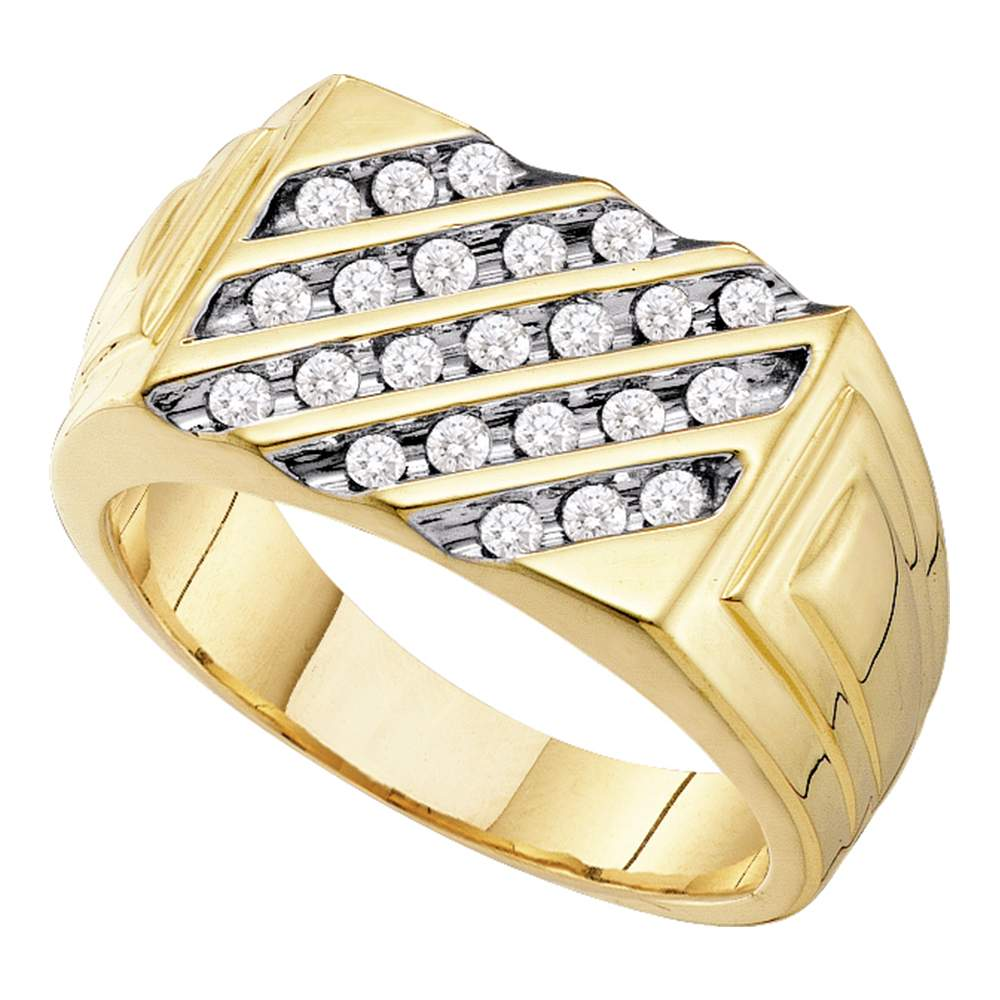 10kt Yellow Gold Mens Round Channel-set Diamond Triple Row Wedding Band Ring 1//8 Cttw