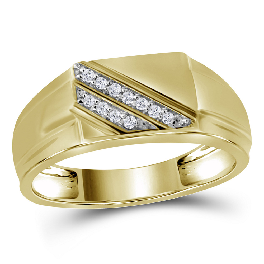 10kt Yellow Gold Mens Round Channel-Set Diamond Diagonal Triple Row Wedding Band 1//8 Cttw